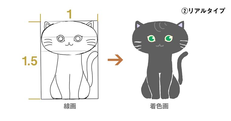 iPadでリアルタイプ / 猫のイラスト 完成図