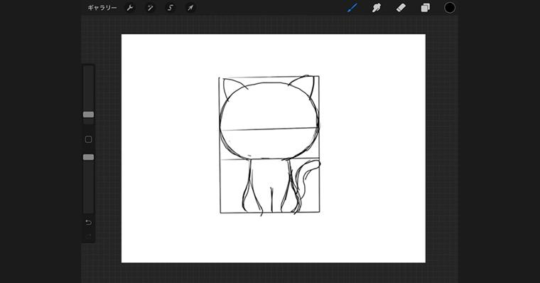 iPadで猫のイラストデフォルメタイプ / ラフ作成手順3