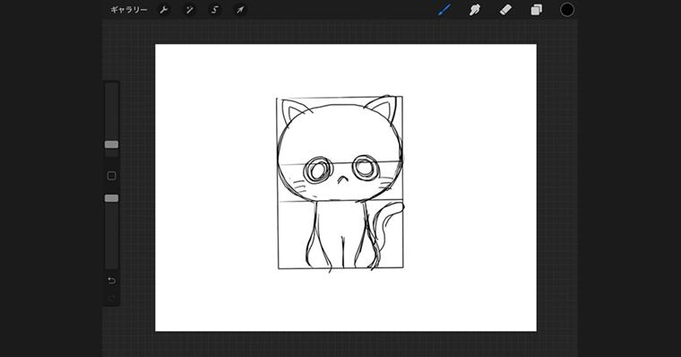iPadで猫のイラストデフォルメタイプ / ラフ作成手順4