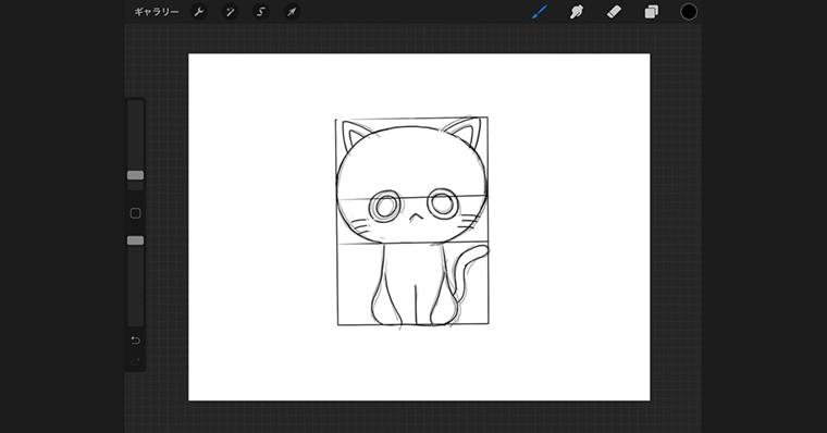 iPadで猫のイラストデフォルメタイプ / 線画