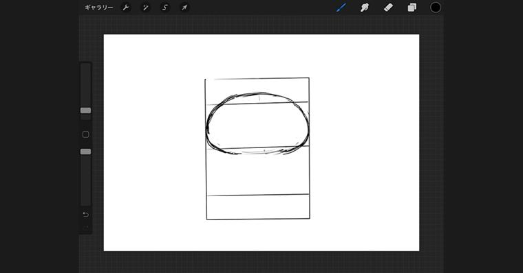 iPadで猫のイラストデザインタイプ / ラフ作成手順1