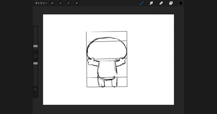 iPadで猫のイラストデザインタイプ / ラフ作成手順3