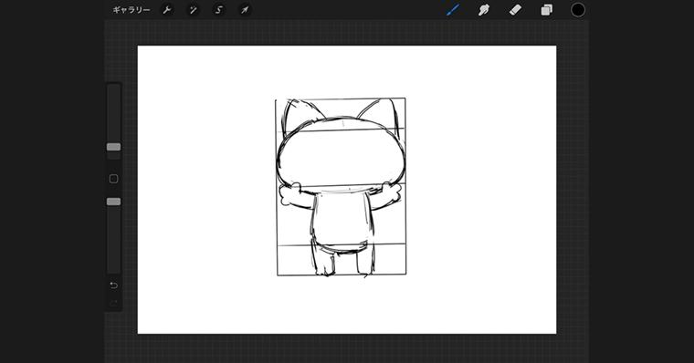 iPadで猫のイラストデザインタイプ / ラフ作成手順4