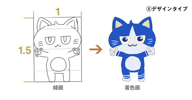 iPadで猫のイラスト 完成図 デフォルメタイプの猫