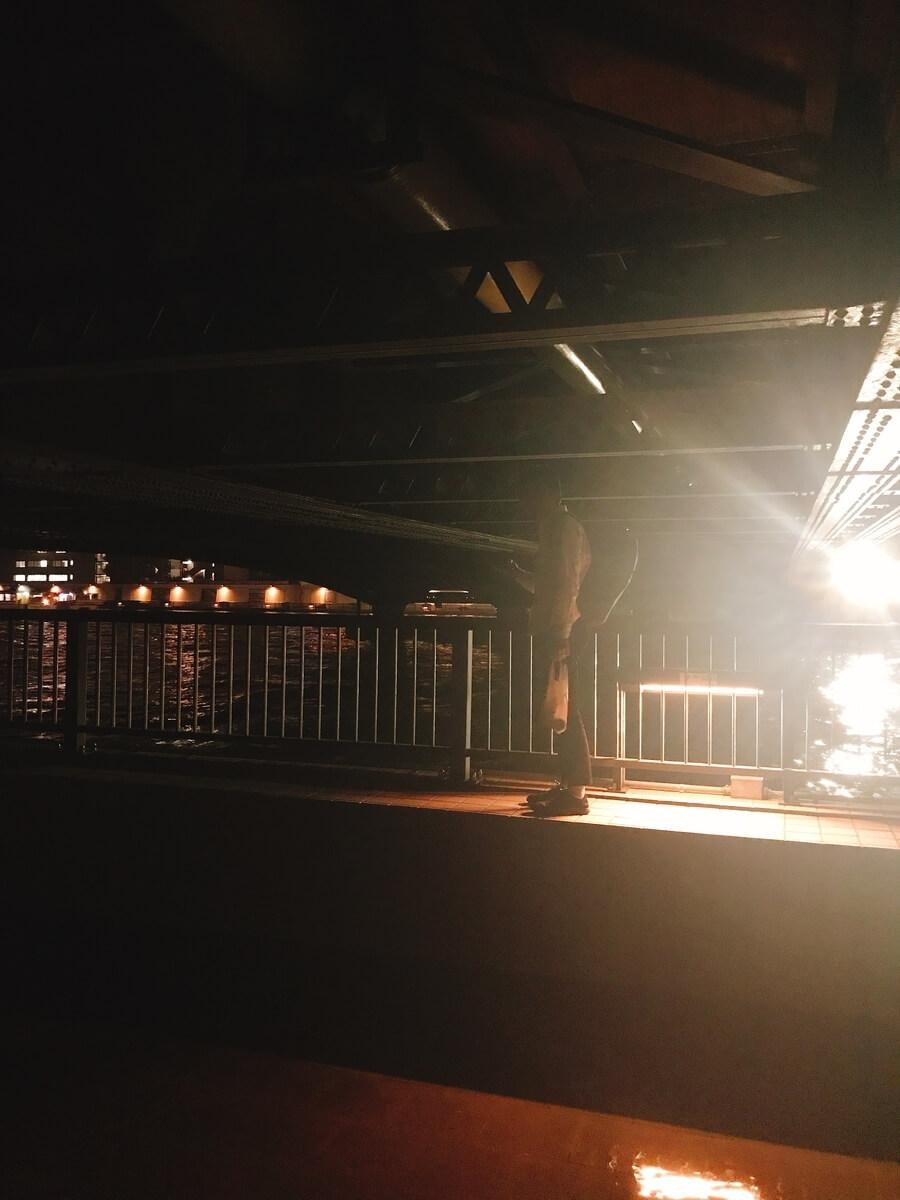 両国橋真下は薄暗い