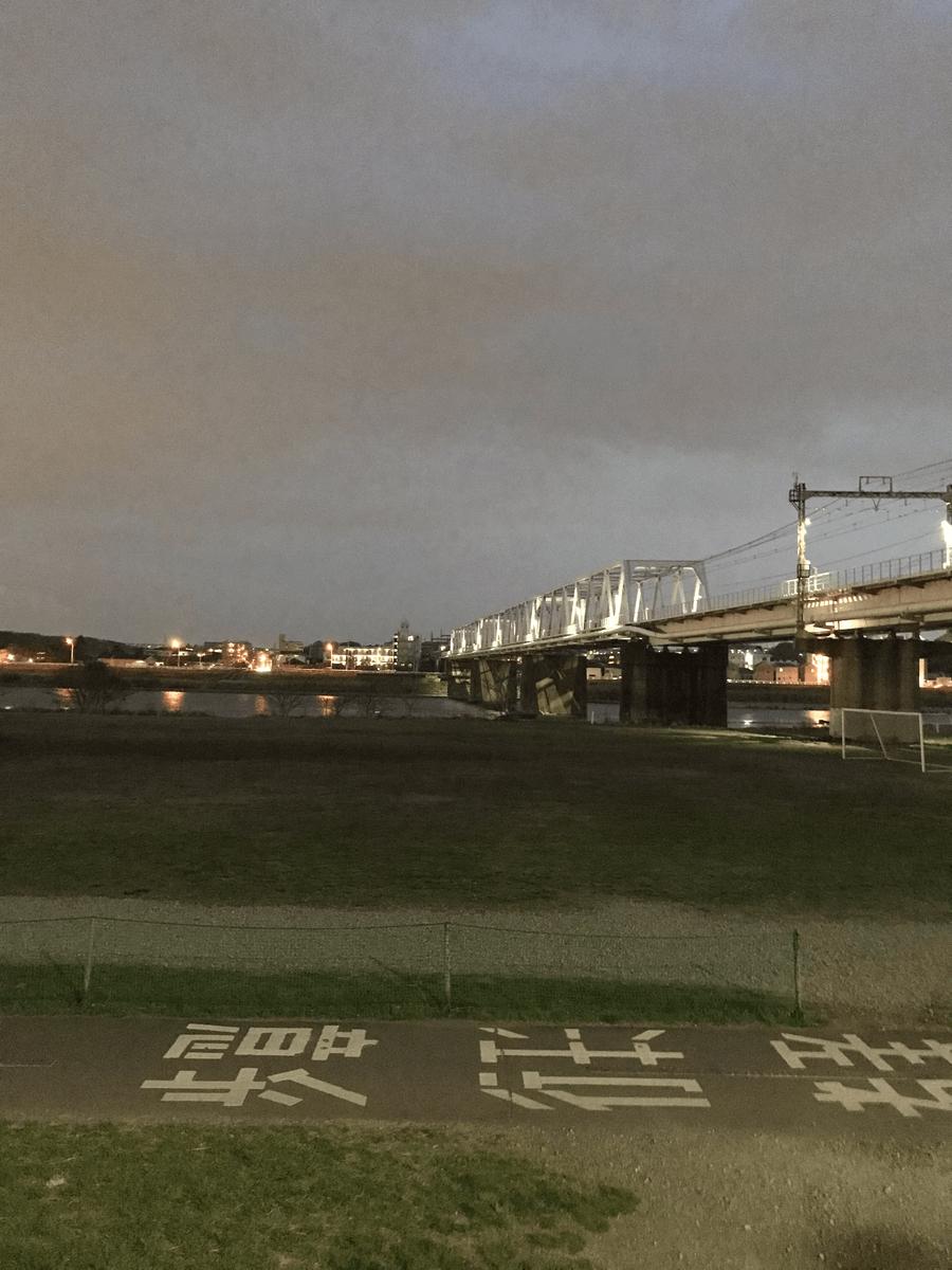 多摩川堤通りから見た多摩川