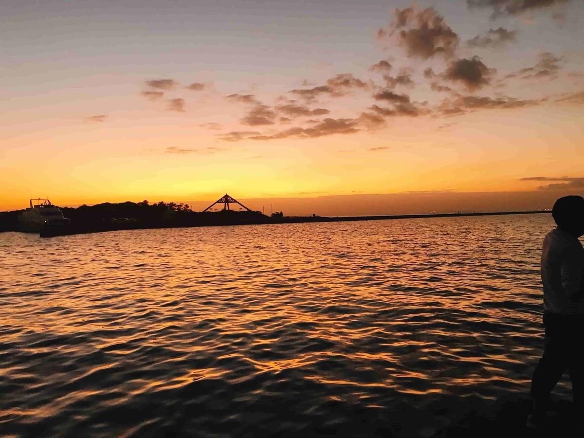 富津新港のきれいな夕日