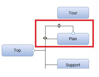 下側オブジェクトと接続