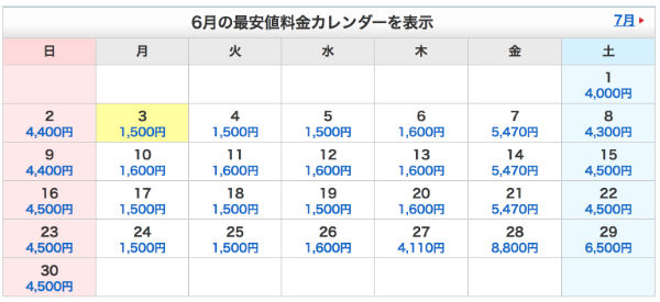 羽田→関空 最安値