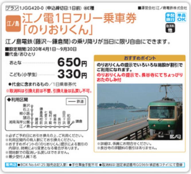 JTBオプショナルツアー、江ノ電1日フリー乗車券「のりおりくん」