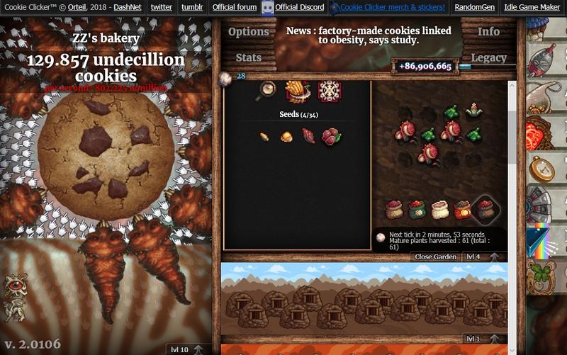 クッキークリッカー 農場実装